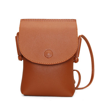 Women PU Leather Mini Shoulder Bags Retro Hasp Crossbody Bags 5.5'' Phone Purse