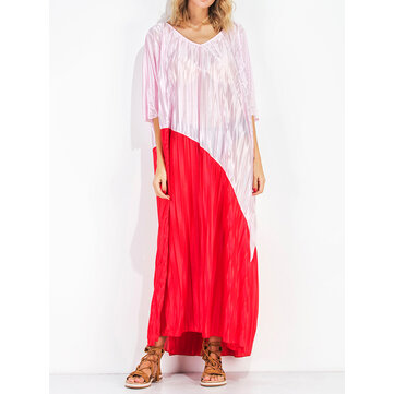 Casual Women Patchwork V-neck Bell Sleeve Loose Maxi Dresses