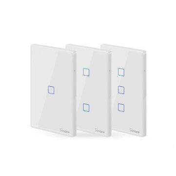 SONOFF® T2 EU / US / UK AC 100-240V 1/2/3 Gang TX Serie 433 MHz WIFI Interruptor de pared RF Smart Interruptor táctil de pared para trabajo en casa inteligente con Alexa Google Inicio