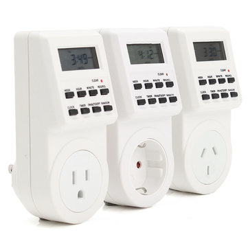 120V Digital Programmable 12/24 Hour Timer LCD Plug-in Wall Socket Switch Energy-saving