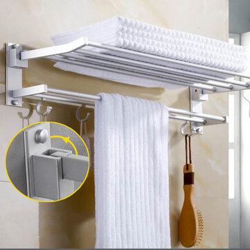 Porte-serviette monté au mur Crochet Crochet Cintre Bar Tablette Rangement de la salle de bain Hôtel