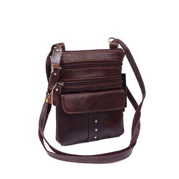 Genuine Leather Multi-pocket Shoulder Bag For Men