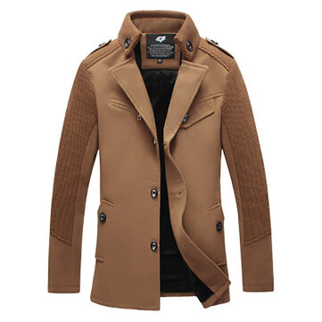 Men's Fashion Slim Fit Thick Woolen Coat Jacket Casual Pure Color Mid Long Trench Coat