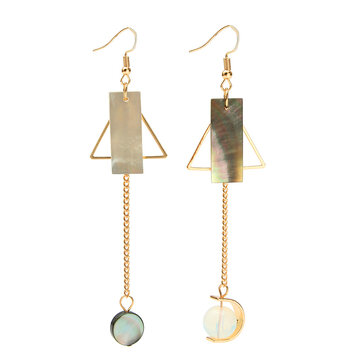Trendy Natural Shell Crystal Asymmetric Geometry Earrings No Ear Pierced for Women
