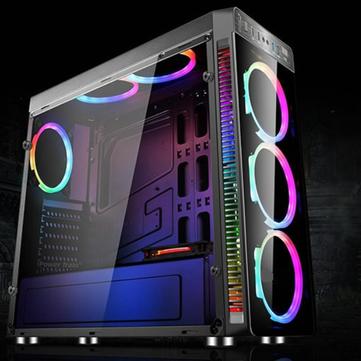 Cas noir transparent d'ATX PC d'ordinateur de jeu latéral avec des ventilateurs et un contrôleur de refroidissement de 4PCS RVB