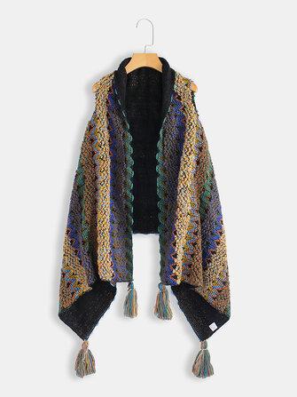Cardigan con poncho in maglia nappa lavorato a maglia nappa invernale da donna taglie forti