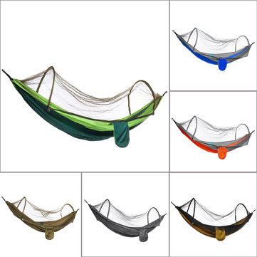210T Nylon Hammock Ourdoor Camping Travel Hanging Bed With Mosquito Net
