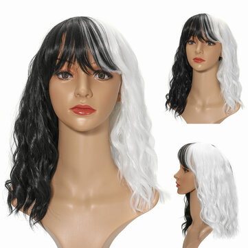 14'' Women Cosplay Black White Synthetic Curly Hair Wig Shoulder Length