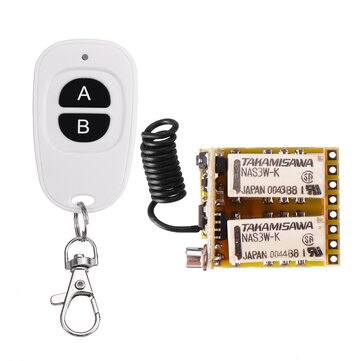 DC3.7V/5V/12V 433MHz Wide Voltage 2 Way Remote Control Switch Miniature Universal Learning Code Normal Open and Close