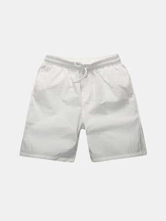 Polyester Pockets Solid Color Quickly Dry Board Shorts for Men
