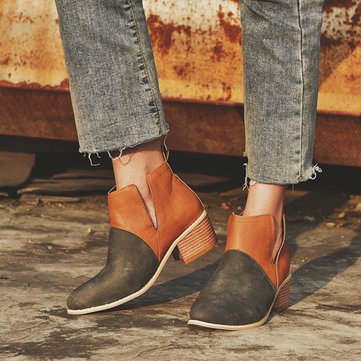 Large Size Women Splicing Square Pointed Toe Ankle Boots