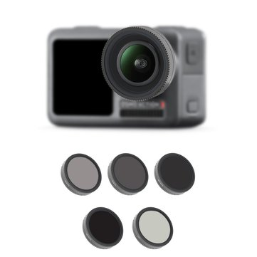 5 PCS CPL+ND4+ND8+ND16+ND32 5 IN 1 Set DJI OSMO Action Camera Lens Glass Professional Filter Set for Underwater Diving Aerial Photography All SCENERY
