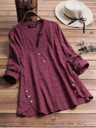 Blusa vintage a cuadros con cuello en V manga larga Plus Talla Camisa Blusa