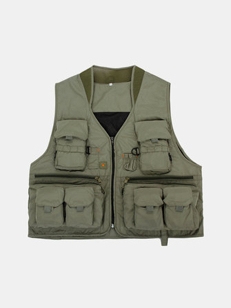 Heren Outdooors Vissen Mesh Solid Color Multi Pocket Casual Travel Ademende Vest Waistcoat
