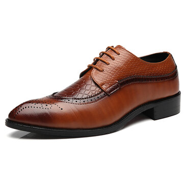 Large Size Men's Modern Brogue Carved Classic Pointed Toe Dress Shoes