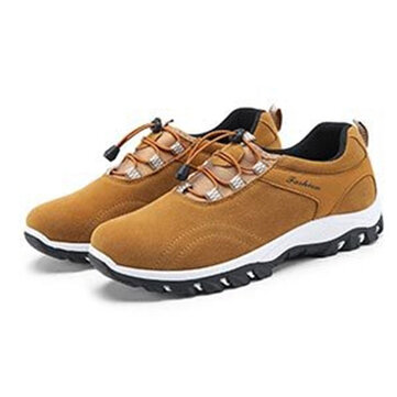 Men Outdoor Hiking Slip Resistant Wear Resistant Soft Leather Sneakers