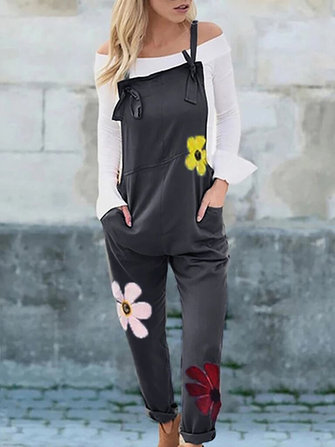 Flowers Print Sleeveless Overalls Jumpsuit with Pocket