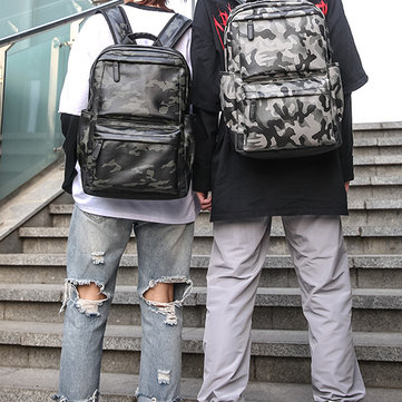 Men Faux Leather Large Capacity Fashion Casual Camouflage Backpack Travel Bag Outdoor