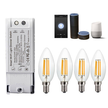 4PCS AC220V E14 4W Dimmable COB LED Candle Light Bulb + Smart WiFi Dimmer Light Switch Work With Amazon Alexa