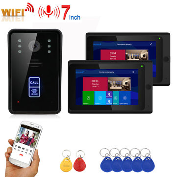 7inch 2 Monitors Wireless Wifi RFID Video Door Phone Doorbell Intercom Entry System with Wired IR-CUT 1080P Wired Camera Night Vision,Support Remote APP Unlocking,Recording,Snapshot