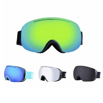 Double Lens Motorcycle Goggles Anti-fog UV Skiing Snowboard Racing Sunglasses Snow Mirror Glasses - Silver