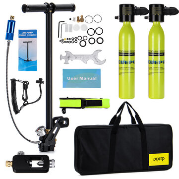 2 x 0.5L Scuba Oxygen Cylinder Underwater Diving Set Air Oxygen Tank With Adapter & Storage Box Diving Set equipment