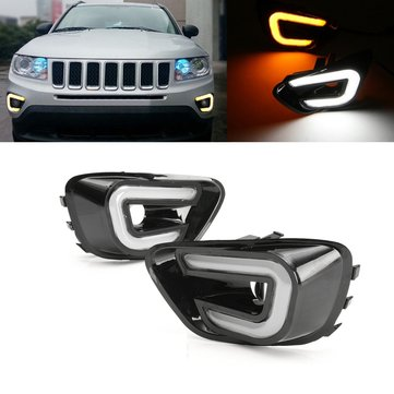 White+Yellow LED Daytime Running Lights DRL Turn Signal Lamps Pair For Jeep Compass 2011-2016