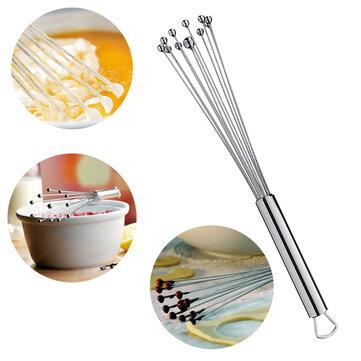 Stainless Steel Ball Whisk Egg Beater Hand Stirrer Mixer Cream Sauce Whipping