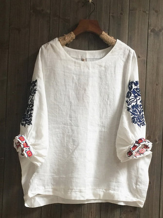 Bohemian Embroidery Bishop Short Sleeve Blouse