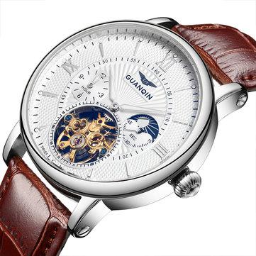 Orologio da uomo GUANQIN GQ16036 numero romano automatico Meccanico Vera Pelle Banda orologio da uomo