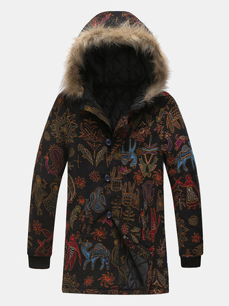 Mens Ethnic Character Printing Coats Thickened Warm Mid Long Down Jacket