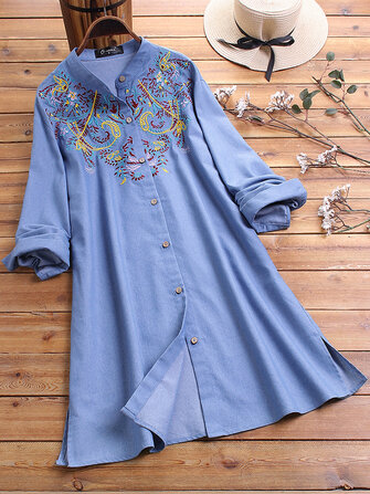 Plus Size Floral Embroidery Long Sleeve Vintage Long Shirts