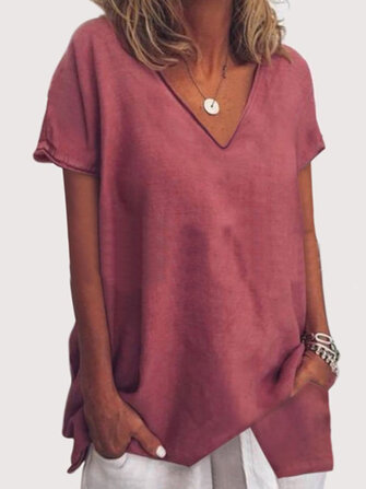 Casual Solid Color Asymmetrical Short Sleeve Blouse