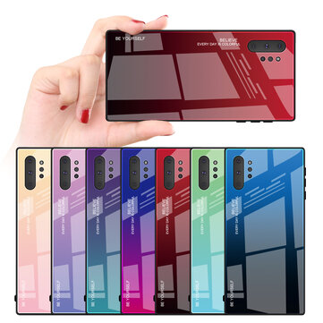 Bakeey Gradient Tempered Glass Protective Case For Samsung Galaxy Note 10/Note 10 5G/Note 10+/Note 10+ 5G Scratch Resistant Back Cover