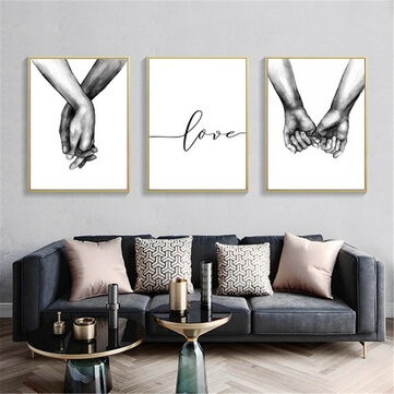 Holding Hand Black And White Picture Cambric Prints Painting Love Wall Sticker Home Decor