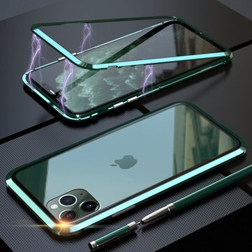 Bakeey Luxury Magnetic Adsorption Metal Back Tempered Glass Protective Case for iPhone 11 Pro Max 6.5 inch