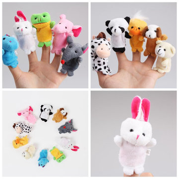 10Pcs Plush Animal Finger Puppet Set Play Learn Story Toys Kids Baby Early Educational Dolls Gift