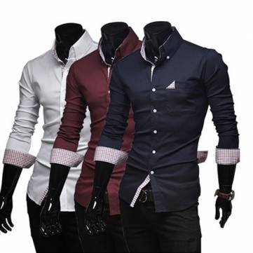Men's solid Cotton Spring Shirt long-sleeved Casual Shirts Tops